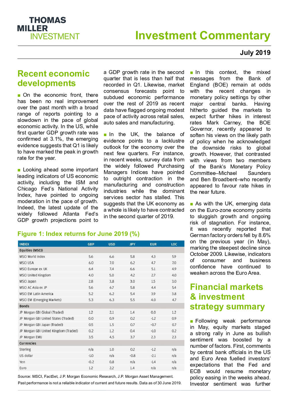 Investment Commentary July 2019