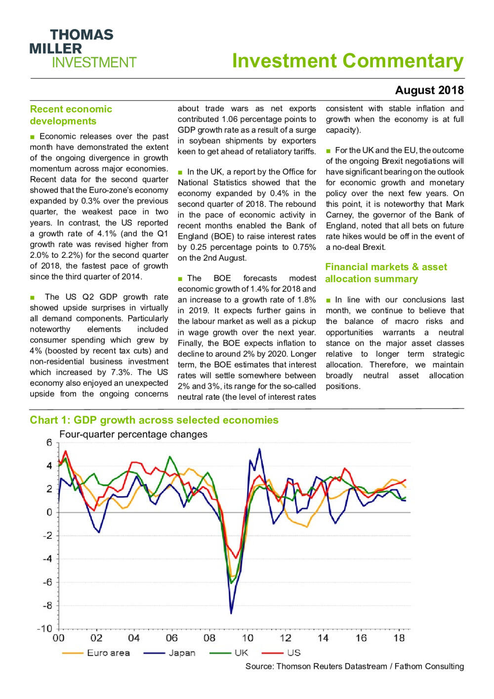 Investment Commentary August 2018