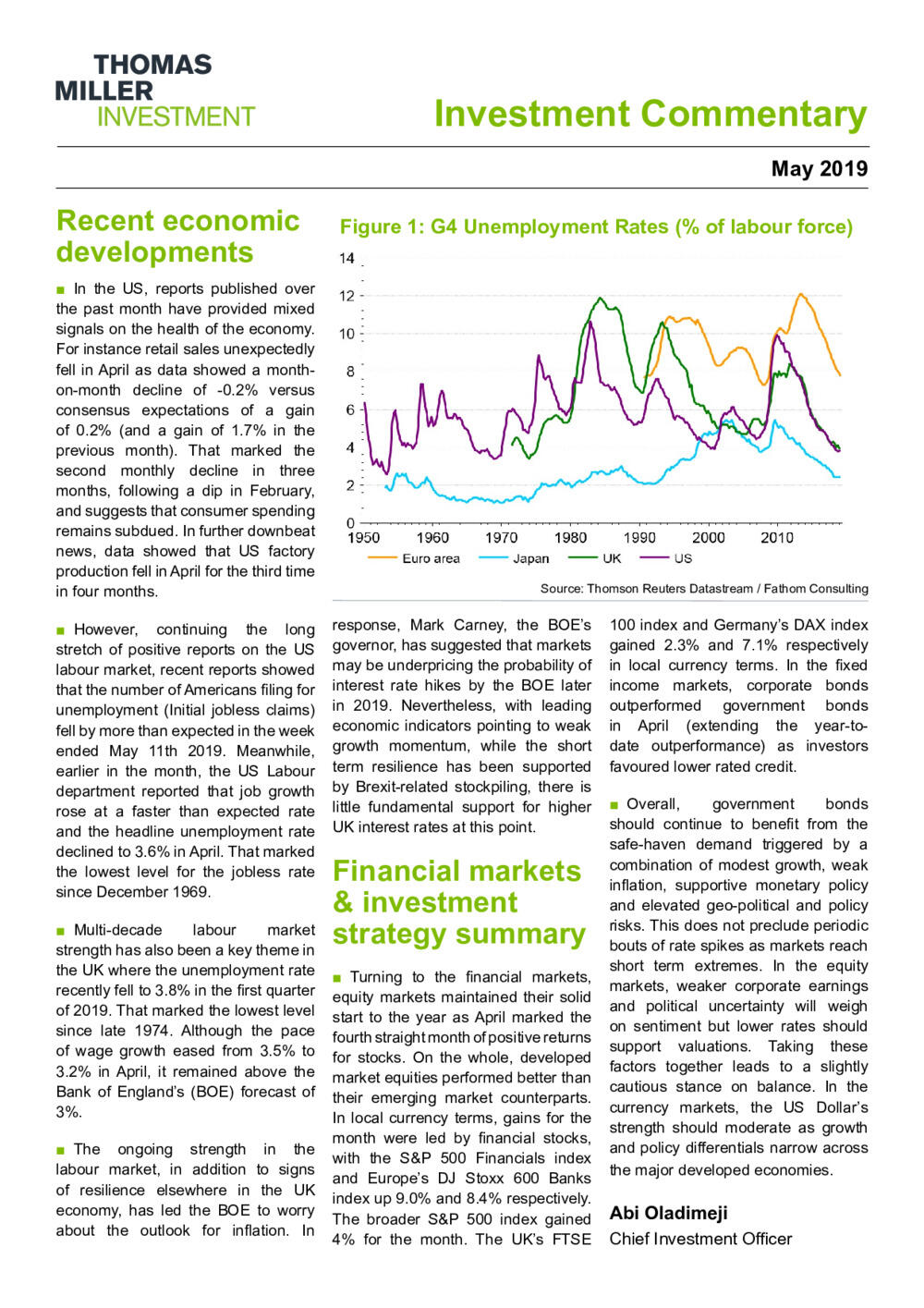 Investment Commentary May 2019